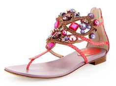 These I can actually handle!! René Caovilla Chandelier Thong Sandal in coral.