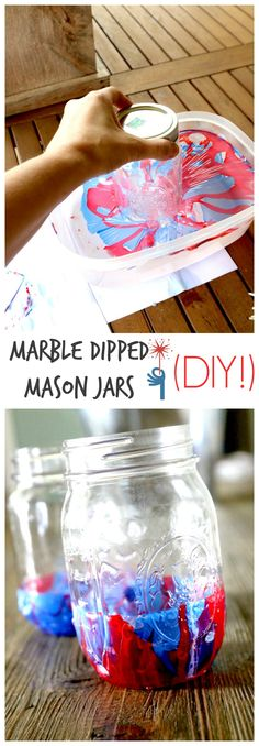 Marble Dipped Mason Jars: The easiest and quickest way to decorate your jars gorgeously. Truly a 5 minute craft with striking and different results every time. DIY Tutorial here (homemade candles with flowers) Diy Crafts For Teen Girls, Diy Projects For Kids, Diy For Teens, Diy For Kids, Diy And Crafts, Craft Projects, Art Crafts, Kids Crafts, Upcycled Crafts