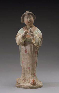 A painted pottery model of a fat lady Tang dynasty Old Pottery, Painted Pottery, Pottery Painting, Terracota, Fat Lady, Small Sculptures, Pottery Sculpture, China Art, Chinese Ceramics