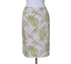 Talbots Bone White Beige Green Tropical Floral Print Linen Lined Skirt Size 16W #Talbots #Straight