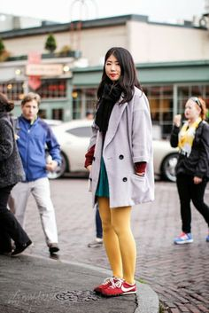 Bold color tights with sneakers it's my darlin' seattle street style: Chisato Tanaka | Pike Place Market