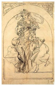 Alphonse Mucha - Design for the poster Chocolat Idéal.1897