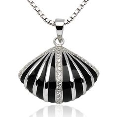 925 Sterling Silver Black Shell Striped Enamel CZ Diamond Stone Accent Pendant Necklace 18'' Chuvora http://www.amazon.com/dp/B00ABA0X9W/ref=cm_sw_r_pi_dp_b4aaxb1BGDN2K