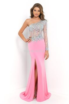 Find More Evening Dresses Information about Free Shipping Crystal beaded  Sweetheart One Shoulder Full Sleeve 2014 48ede1a69ec3