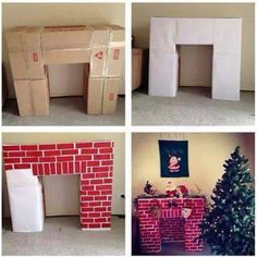 Make a fireplace out of cardboard boxes and tons of other Easy DIY Holiday Decorations! #DIYholidaydecor #christmasdecorations #DIYchristmasdecorations #easyholidaydecorations #easyholidaydecor #christmasdecorationideas