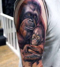 3d realistic monkey with cub tattoo on shoulder - Tattooimages.biz