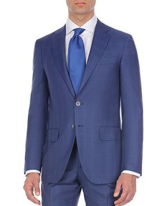 Double-Windowpane Two-Piece Wool Suit by Isaia at Neiman Marcus Ford Blazer, Blazer Suit, Suit Jacket, Tom Ford Jacket, Tom Ford Suit, Dress Suits, Men Dress, Windowpane Suit, Designer Suits For Men