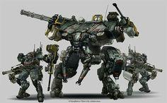 Mech Heavy Trooper (left), Mech AFV (center), Mech Artillery version (right background)