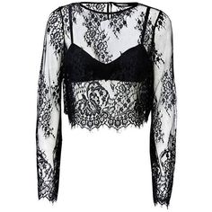 OVERLAID LACE TOP (76.790 COP) ❤ liked on Polyvore featuring tops, lace top and lacy top