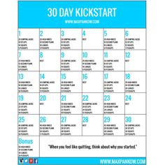 Welcome to the 30 Day Kickstart! Not sure if you're quite ready to take the plunge and join our next 30 Day Challenge Group? No worries! Get your feet wet with this FREE 30 Day Kickstart challenge while you make up your mind. Once you build the HABIT of exercise and start seeing amazing results, you instantly be hooked and begging for more :)