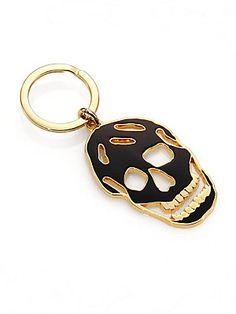 Alexander McQueen Cutout Enamel Skull Key Ring