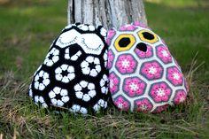 crochet owls pillows