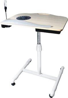 Tsir Tech® Adjustable Wooden Laptop Desk with Built in Cooling Fan Laptop Desk, Drafting Desk, Cool Stuff, Adjustable Table, Table Lamps, Furniture, Larger, Fan, Technology