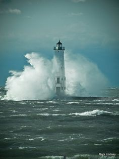 Lighthouse  - October 2010 Storm by Mark Lindsay