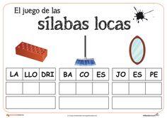 Sílabas locas: Reforzamos el vocabulario de una manera divertida con esta propuesta que ampliaremos en sucesivos post. Spanish Lesson Plans, Spanish Lessons, Word Work, Grade 1, Homeschool, Classroom, Letters, Teaching, Writing