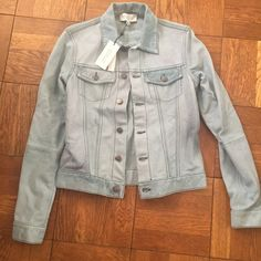 NWT Derek Lam 10 Crosby street leather jacket 4 New with tags Derek Lam 10 Crosby street leather jacket size 4 sea foam color (light blue) . Button up closure , two front pockets . $995+ retail .  100% lambskin leather . Not lined . Derek Lam Jackets & Coats