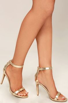 Look to the Search the Stars Gold Ankle Strap Heels when you want to shine  on the dance floor! Metallic gold vegan leather shapes a slender toe band  and ...