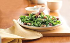 Add some color to your Easter table with this low-cal kale side salad from the new Betty Crocker Cookbook. Studded with tart cherries, walnuts and blue cheese, this easy side salad has only 120 calories per serving.