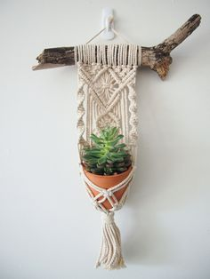 This is beautiful little Macrame Plant Hanger is handcrafted with delicate detail and a gorgeous tassel. It sits on a piece of driftwood that provides a beautiful contrast to the 100% natural Australian cotton string. The driftwood has been cleaned and disinfected. This little vertical