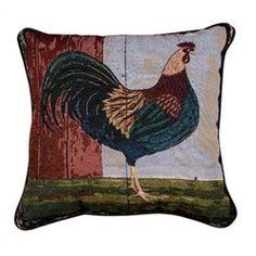 Warren Kimble Rooster Folk Art Throw Pillow