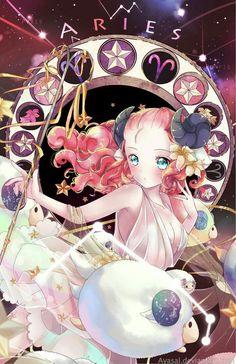 Aries, Anime girl, text; Zodiac Signs