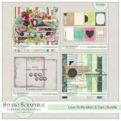 Love To My Mom & Dad | Bundle by Scrapyrus Designs - save HUGE when purchasing the bundle!  You'll save a whopping 60% when you purchase the collection!   This bundle contains: 5 solid papers 19 patterned papers 60 elements 1 bonus including 1 alpha + numbers and 2 edge borders 8 journal cards 1 mini kit with 1 solid paper, 8 patterned papers, 11 elements and 1 journal card