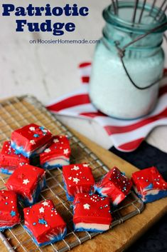 Red White  Blue Fudge!!! Whip up this Patriotic White Chocolate Fudge with simple ingredients in about 10 minutes and add a festive touch to your 4th of July Dessert. It's so easy and fun to make that the whole family can do it together as you get ready to celebrate July 4th.