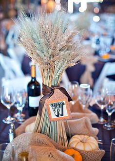Wedding Inspirations, Gathered Wheat Centerpieces With Paper Monogram Tags: Autum wedding of Kelli and Scott