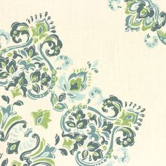 Parvani Fabric An impressive geometric fabric with large scale jewel-like motifs printed in teal, turquoise and green on a cream linen ground.