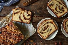 A deliciously cinnamon-y loaf, spiraled, studded with nuts and raisins, and topped with streusel.