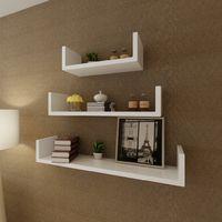 3 White MDF U-shaped Floating Wall Display Shelves Book/DVD Storage