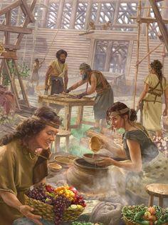 Noé e la sua famiglia costruiscono l'arca e preparano del cibo Religious Pictures, Bible Pictures, Jesus Pictures, Religious Art, Caleb Y Sofia, La Sainte Bible, Religion Catolica, Bible Illustrations, Christian Pictures