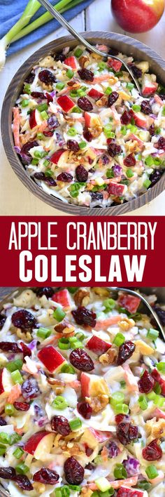 Apple Cranberry Coleslaw is the perfect way to mix things up for fall! Loaded with healthy, delicious flavors!