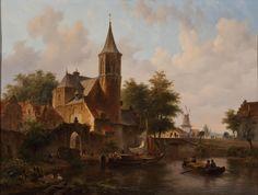 Pintura flamenca paisaje del siglo XIX