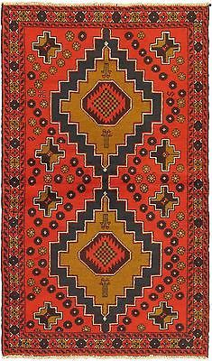"Hand-knotted Afghan Carpet 3'7"" x 6'2"" Kazak Traditional Red Wool Rug"