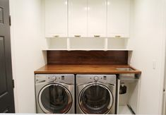 A Walnut Counter And Backsplash in the Laundry Room | Chris Loves Julia