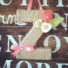 Monogram, monogram wreath, monogram wall hanging, letter wreath, nursery letter, nursery decor, wall decor, wreath, jute wrapped letter on Etsy, $25.00