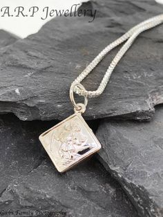 Square Solid Silver St.Christopher - a timeless classic on a solid silver chain by ARPJewellery on Etsy