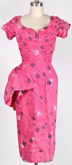 ★ vintage 1950s dress | Etched Roses Dress