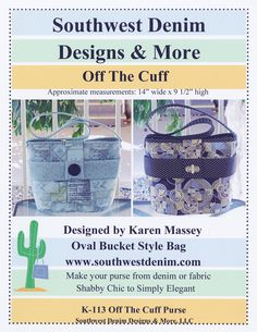 Off The Cuff Bucket Bag Pattern by Southwest Denim Designs & More K-113 by happyvalleymercantil on Etsy