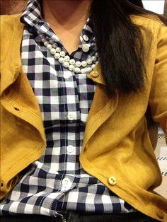 Jcrew checkered button up under a mustard yellow cardigan