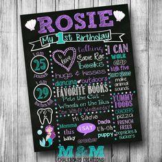 First Birthday Mermaid Chalkboard Poster Girl Customized 1st Birthday Chalk board Custom Printable Sign Purple Teal White Seashell