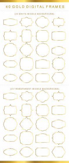 40 Classic Digital Frames, Gold Frames Clip Art, Digital Clipart, Digital Download, Clipart Frame, Frames Clipart, Digital Labels