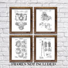 Wall Hangings Photography Themed Patents Set of Four 8'x10 Prints... (€14) ❤ liked on Polyvore featuring home, home decor, wall art, home & living, home décor, silver, wall décor, wall hangings, framed photography wall art and framed wall art