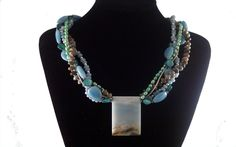 Artisan Created 5 Strand Gemstone Necklace and Matching Earrings