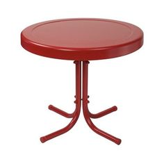 Timothea Side Table Coral Red Color Retro vintage Look Outdoor Seating Sturdy  #MercuryRow #Retro