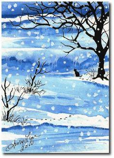 Winter Wonders Black Cat  Original ArT ACEO by AmyLynBihrle, $35.00