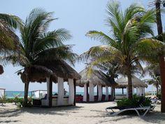 beach beds at El Dorado Royale resort in Playa del carmen Mexico