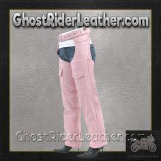 Ladies Pink Leather Motorcycle Chaps With Braid Design / SKU GRL-C326-PINK-DL