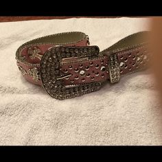 Bling Pink Belt - Never Worn Western Belt - pink with studs None Accessories Belts
